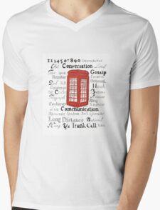 Telephone Box Design Mens V-Neck T-Shirt