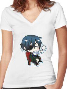 Black Butler (Kuroshitsuji)  Women's Fitted V-Neck T-Shirt