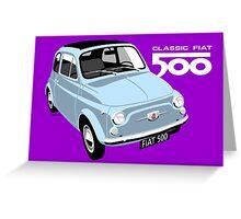 Classic Fiat 500 light blue Greeting Card