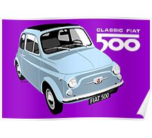 Classic Fiat 500 light blue Poster