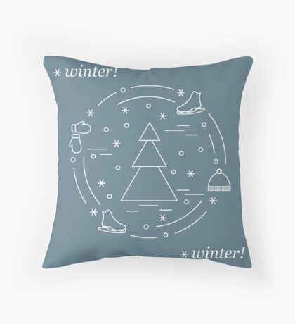Vector illustration for sports figure skating arranged in a circle. Including icons of skates, gloves, hat, spruce.  Throw Pillow