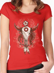 NATIVE AMERICAN BUFFALO SKULL Women's Fitted Scoop T-Shirt