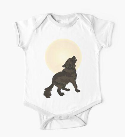 Shaggy Dog Wolf Cub Howling at a Full Moon One Piece - Short Sleeve