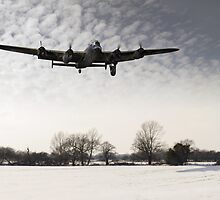 Nearly home - Lancaster limps back by Gary Eason + Flight Artworks