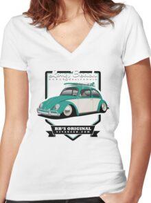 Long Beach - Green Women's Fitted V-Neck T-Shirt