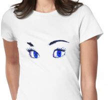 Digital watercolor female eyes Womens Fitted T-Shirt