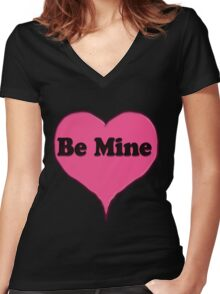 Be Mine Pink Candy heart  Women's Fitted V-Neck T-Shirt