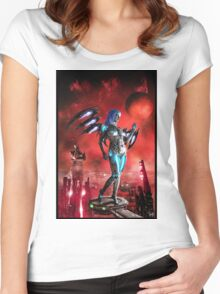 Robot Angel Painting 025 Women's Fitted Scoop T-Shirt
