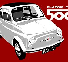 Classic Fiat 500 white by car2oonz