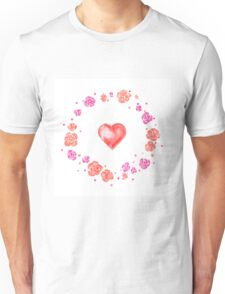 Watercolor illustration for Valentine's day with flower wreath and heart Unisex T-Shirt