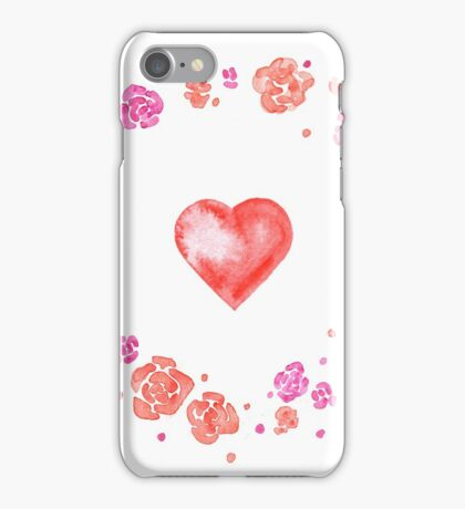 Watercolor illustration for Valentine's day with flower wreath and heart iPhone Case/Skin