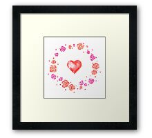 Watercolor illustration for Valentine's day with flower wreath and heart Framed Print