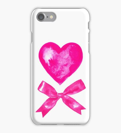 Pink Valentine bow and heart. Watercolor iPhone Case/Skin