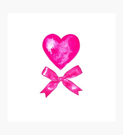 Pink Valentine bow and heart. Watercolor Photographic Print