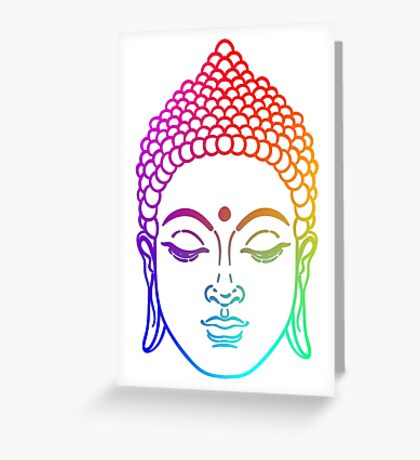 Buddha head in rainbow  Greeting Card