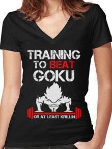 Training to beat Goku or at least Krillin Women's Fitted V-Neck T-Shirt