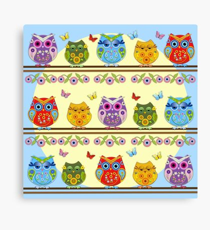 Summer owls with flowers Canvas Print