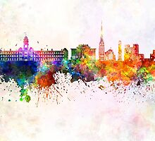 Preston skyline in watercolor background by paulrommer