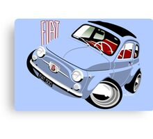 Classic Fiat 500F caricature light blue Canvas Print
