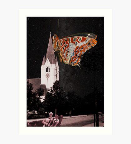 Hometown church is flying Art Print