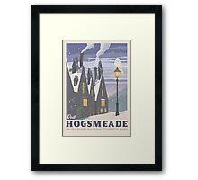 Hogsmeade village. Retro travel poster. Harry potter. Vintage illustration. Geekery art. Movie poster. Butter beer. JK Rowling. Muggles. Christmas house. Warming gift Framed Print