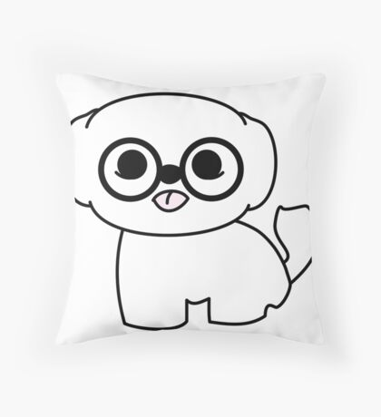 Shih Tzu Puppy with Glasses Throw Pillow
