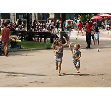 High Five With Bubbles In Their Eyes Photographic Print