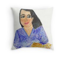 Lady In Blue  Throw Pillow