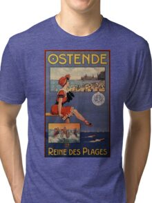 Vintage Ostend Summer beach travel bathing beauty Tri-blend T-Shirt