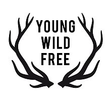 young, wild, free, text design with deer antlers by beakraus