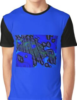 PRUSSIAN BLUE QUADRILATERAL SWIRLY FIZZ  Graphic T-Shirt