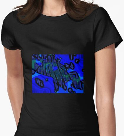 PRUSSIAN BLUE QUADRILATERAL SWIRLY FIZZ  Womens Fitted T-Shirt