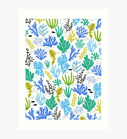 Marine life, seaweed illustration Art Print
