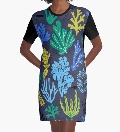 Marine life, seaweed illustration Graphic T-Shirt Dress