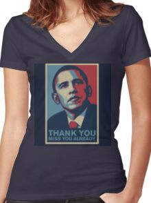 Obama Women's Fitted V-Neck T-Shirt
