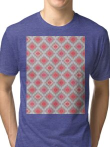 Kilim Inspired Diamond Motif - Rose Grey Palette Tri-blend T-Shirt