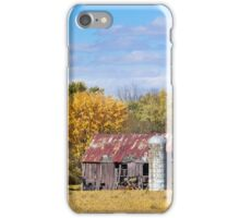 Old Barn with Silo in Autumn iPhone Case/Skin