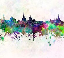 Oxford skyline in watercolor background by paulrommer