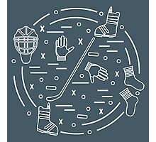 Vector illustration of various subjects for hockey and snowboarding arranged in a circle. Including icons of helmet, gloves, hockey stick, puck, socks, snowboard boots.  Photographic Print