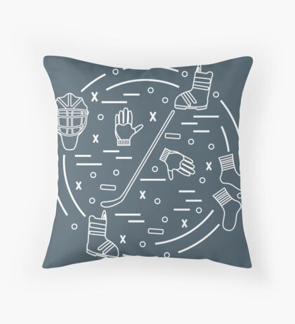 Vector illustration of various subjects for hockey and snowboarding arranged in a circle. Including icons of helmet, gloves, hockey stick, puck, socks, snowboard boots.  Throw Pillow