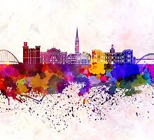 Newcastle skyline in watercolor background by paulrommer