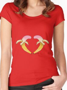 Strawberry Banana Heart Women's Fitted Scoop T-Shirt