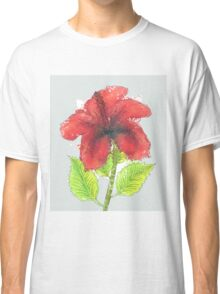 Watercolor red hibiscus 2 Classic T-Shirt