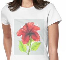 Watercolor red hibiscus 2 Womens Fitted T-Shirt