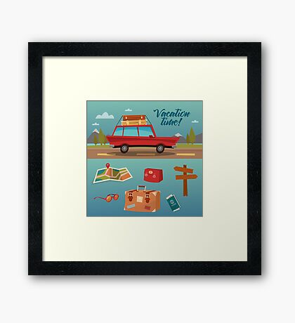 Family Vacation Time. Active Summer Holidays by Car Framed Print
