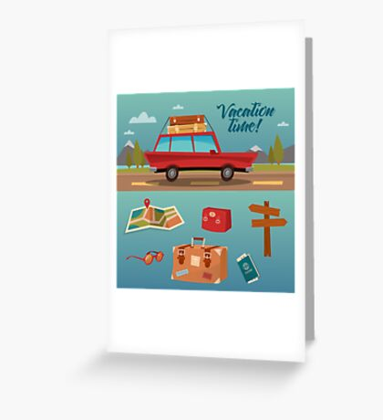 Family Vacation Time. Active Summer Holidays by Car Greeting Card