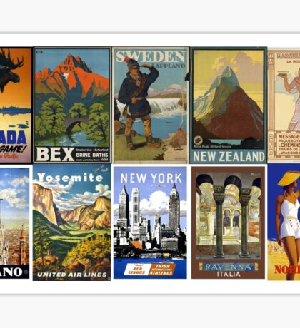 Vintage World Travel posters Sticker