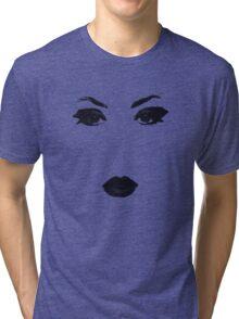 Glamour Fashion Model Face Makeup Muse Black Silhouette Tri-blend T-Shirt