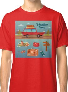 Family Vacation Time. Active Summer Holidays by Car Classic T-Shirt