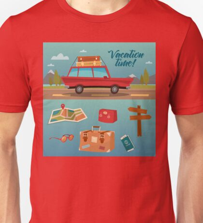 Family Vacation Time. Active Summer Holidays by Car Unisex T-Shirt